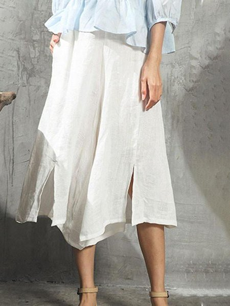 White Casual Solid Linen Bottom