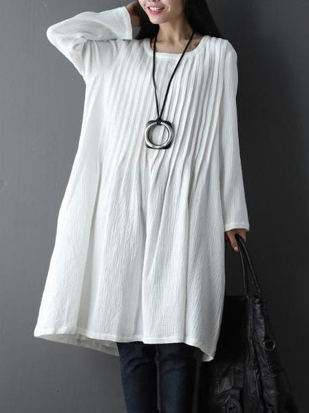 Solid Long Sleeve Crew Neck Pleated Casual Linen Dress