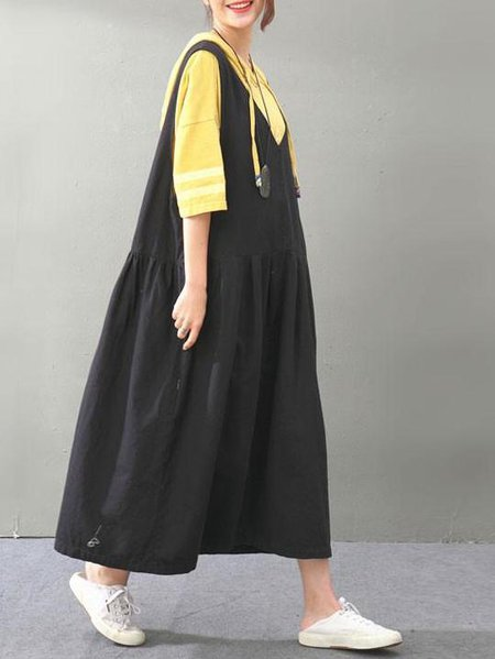 Black Casual Cotton Linen Dress