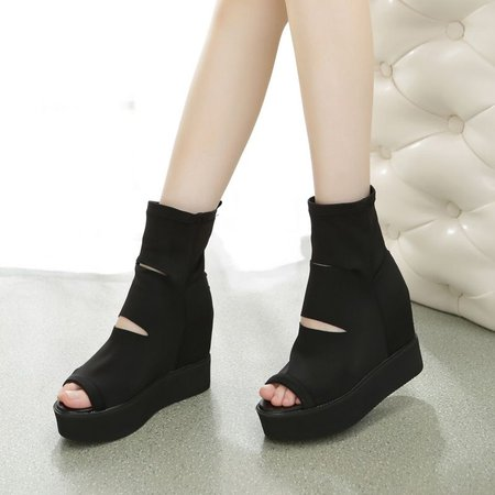 Black Casual Platform Hollow-out Spring/Fall Boots