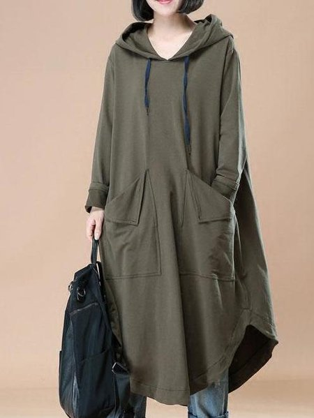 Olive Green Hoodie Solid Casual Asymmetrical Linen Dress