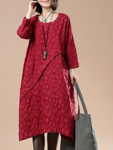Long Sleeve Casual Cotton-blend Linen Dress