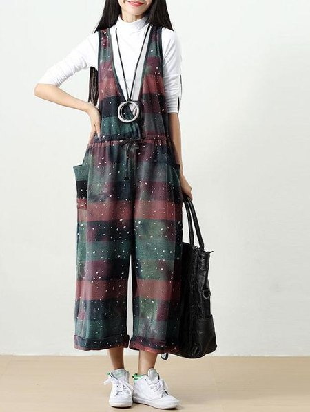 Multicolor Sleeveless Printed Linen Jumpsuit