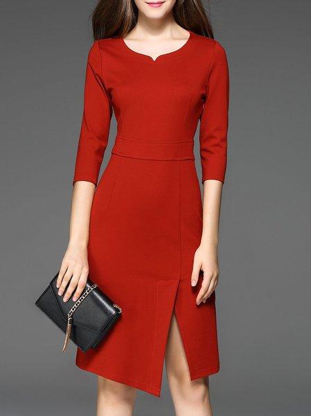 Red Solid Sheath Work Dress