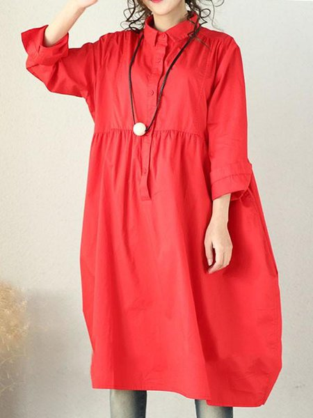 Red Cotton 3/4 Sleeve Buttoned Linen Dress