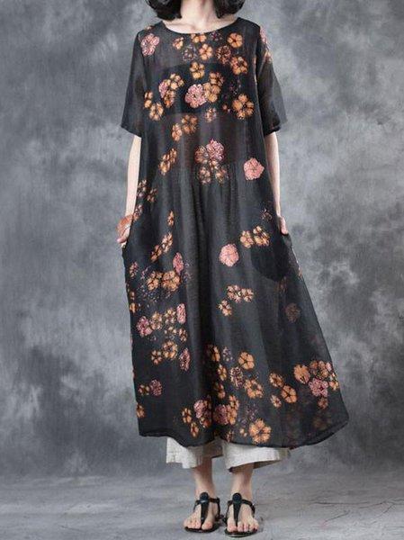 Black Half Sleeve Printed Crew Neck Linen Dress