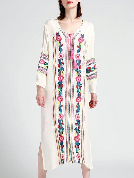 Long Sleeve Embroidered V Neck H-line Casual Boho Dress
