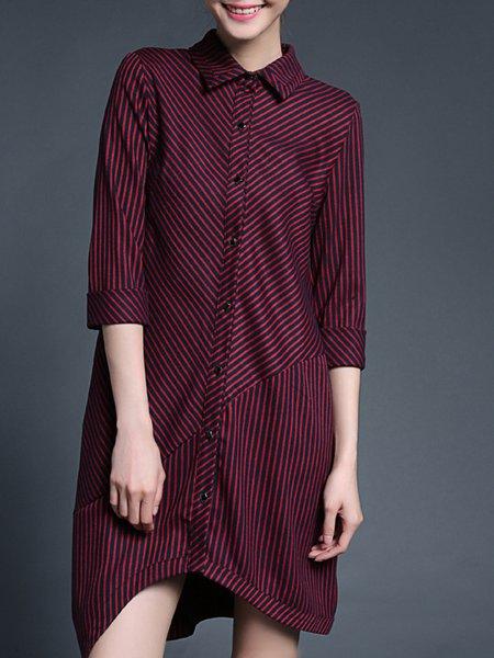 Asymmetric 3/4 Sleeve Stripes  Shirt Collar Midi Dress