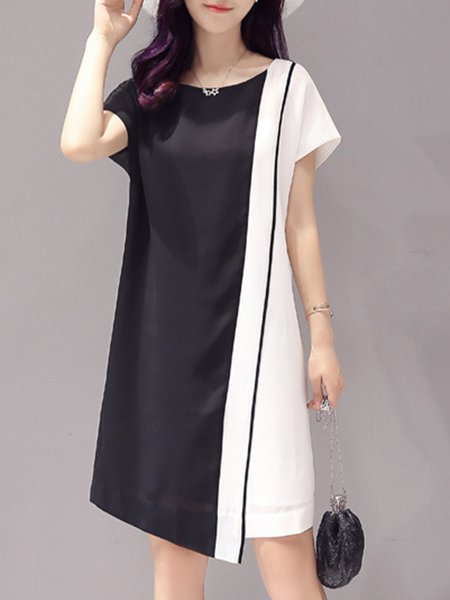 Black-white Color-block  Paneled Shorts Sleeve Midi Dress