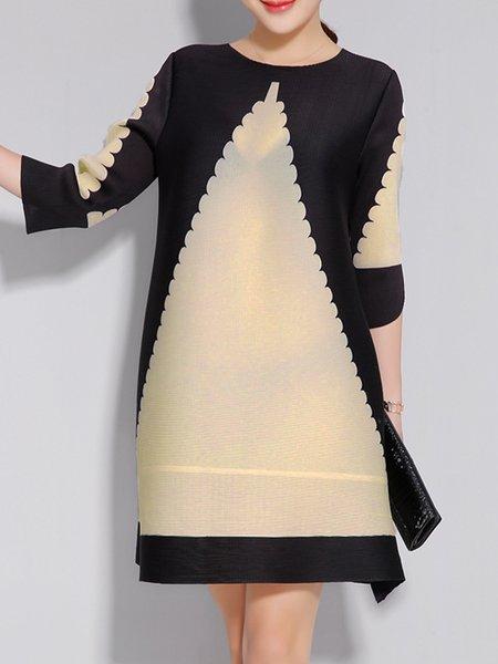 Color-block A-line Casual Polyester Mini Dress