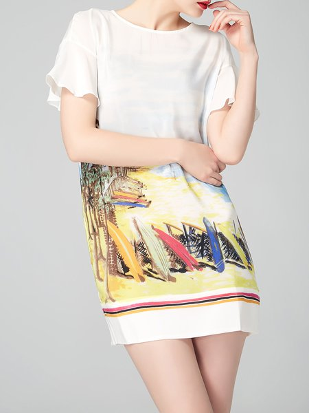 Frill Sleeve Printed Casual Silk H-line Mini Dress