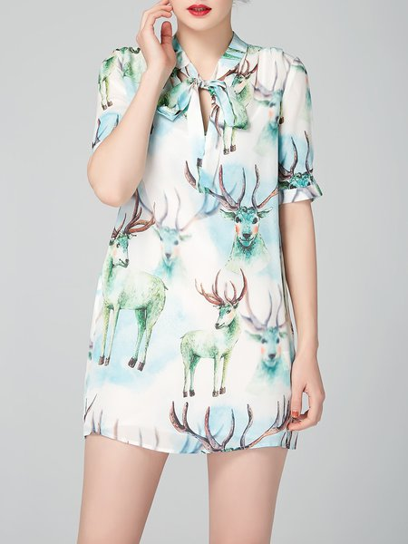 Green Silk Animal Print Sheath Short Sleeve Mini Dress