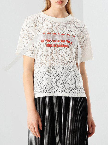 White Letter Guipure Short Sleeve T-Shirt