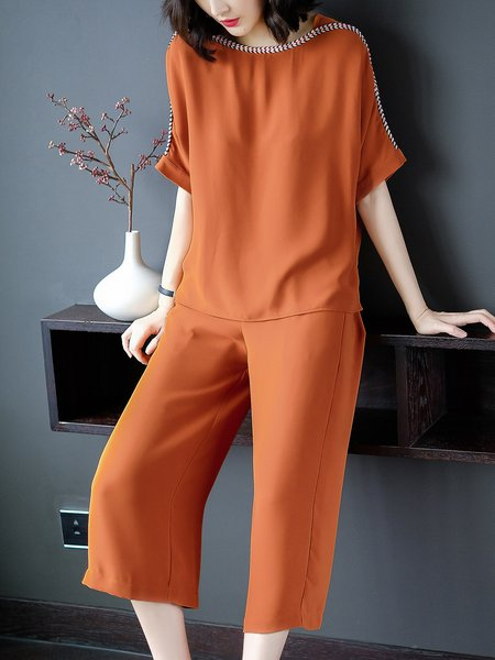 Orange Simple Pockets Two Piece Jumpsuit