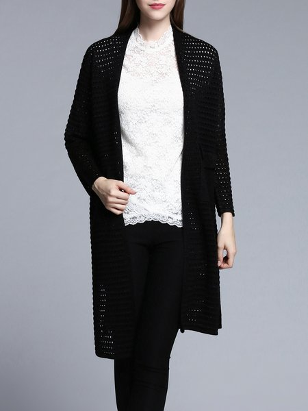 Black Long Sleeve Pierced H-line Cardigan