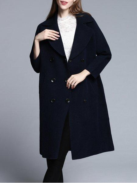 Navy Blue Cashmere Raglan Sleeve Pockets Coat