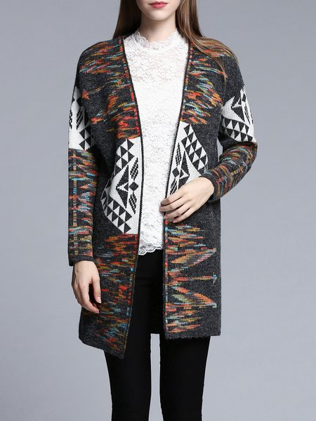 Gray Casual Knitted H-line Wool blend Cardigan