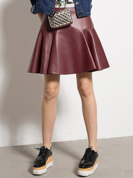 PU Simple A-line Solid Mini Skirt