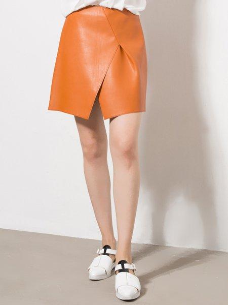 PU Casual Solid Slit Mini Skirt