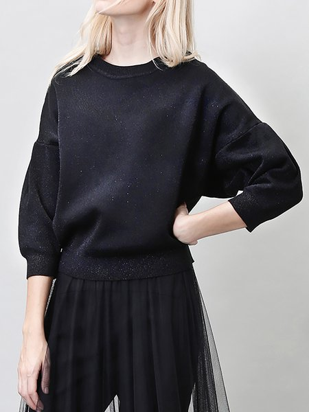 Black 3/4 Sleeve Cotton-blend Plain Sweater