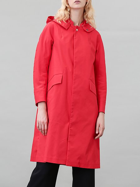 Red Hoodie Long Sleeve Cotton-blend Trench Coat