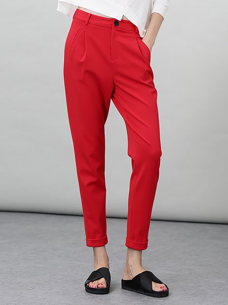 Red Work Pockets Plain Skinny Leg Pants