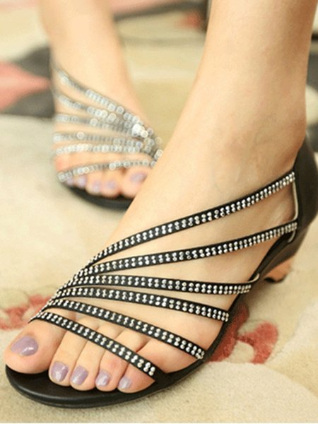 Black PU Casual Low Heel Rhinestone Summer Sandals