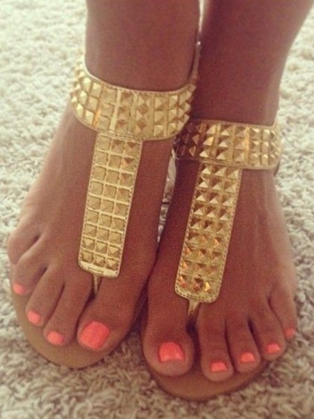 Golden Low Heel PU Rhinestone Outdoor Sandals