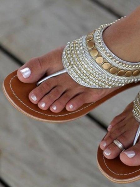 Silver Outdoor Zipper Flat Heel PU Spring/Fall Sandals