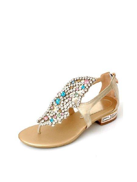 Golden Summer Leather Zipper Low Heel Sandals