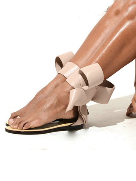 Beige Low Heel Leather Spring/Fall Sandals
