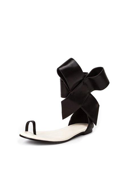 Black Leather Low Heel Sandals