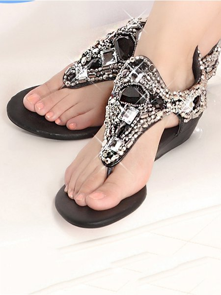 White Rhinestone Outdoor Flat Heel Sandals
