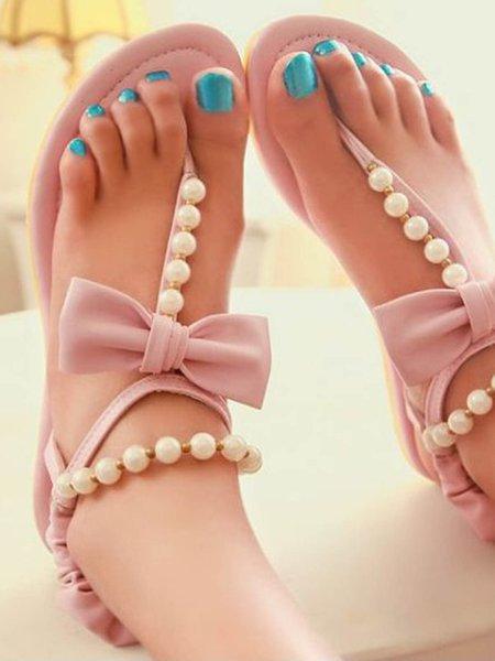 Rose Low Heel Casual Beading PU Summer Sandals