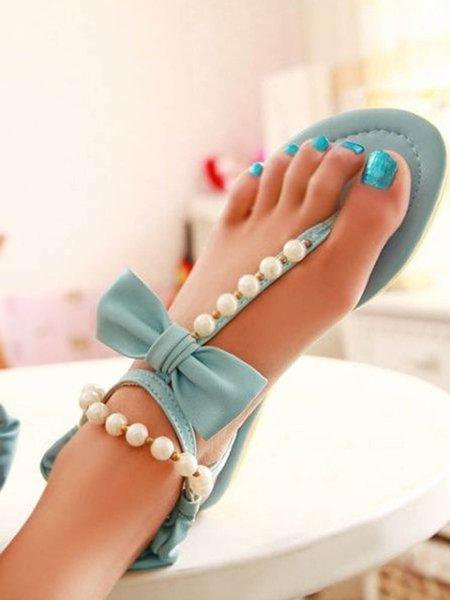 Beige Beading Casual Low Heel Sandals