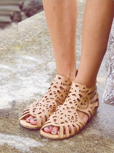 Casual Flat Heel Summer PU Hollow-out Flats