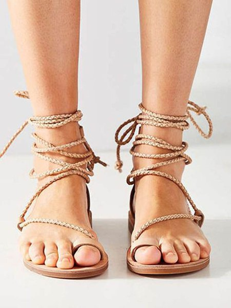 Beige Lace-up PU Spring/Fall Casual Sandals
