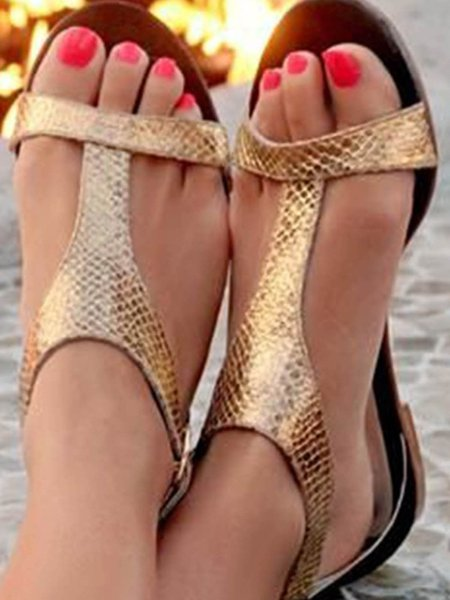 Apricot Spring/Fall Outdoor Flat Heel Sandals