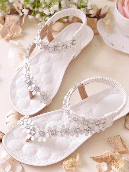 Beige Applique PU Summer Sandals