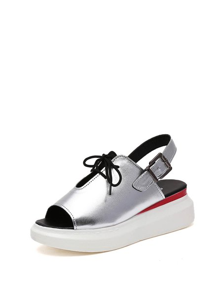 Silver PU Casual Spring/Fall Lace-up Kitten Heel Sandals