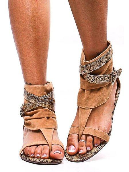 Brown Flat Heel Spring/Fall Outdoor Suede Sandals