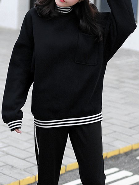 Black Cotton-blend Long Sleeve Sweatshirt with Pockets
