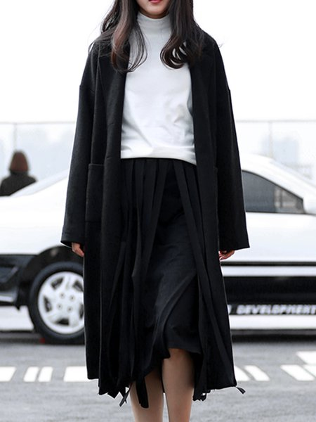 Black Long Sleeve H-line Coat with Pockets
