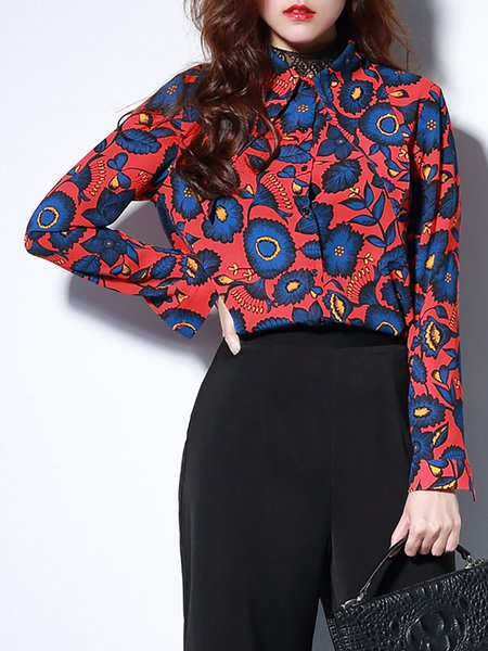 Red Long Sleeve Chiffon Printed Blouse