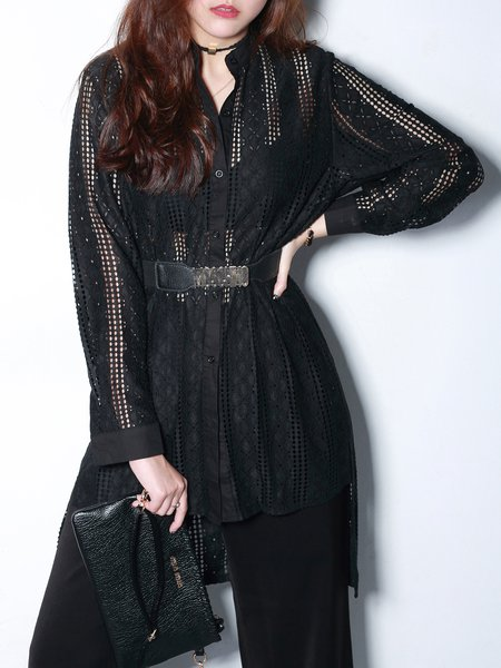 High Low Casual Long Sleeve Shirt Collar Tunic