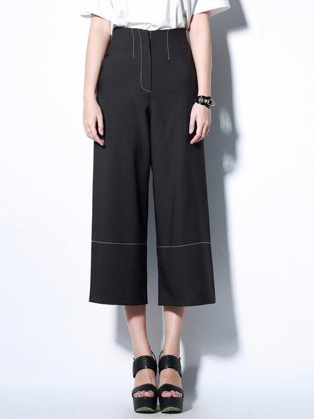 Black Casual Pockets Polyester Plain Wide Leg Pant