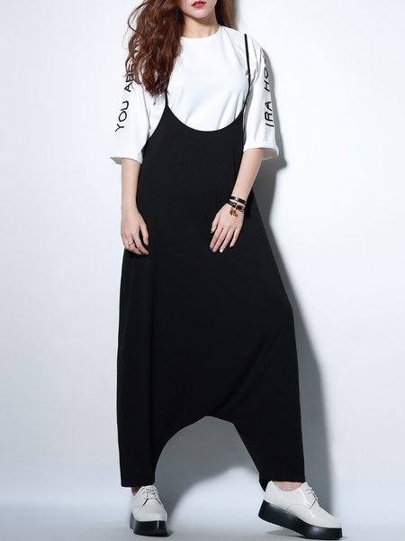 Black Statement Spaghetti Plain Overall
