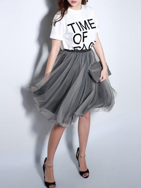 Gray Sweet A-line Organza Midi Skirt