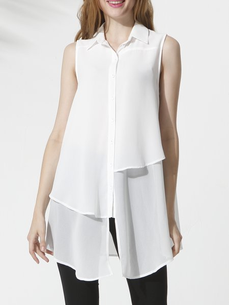 White Asymmetrical Solid Casual Shirt Collar Tunic