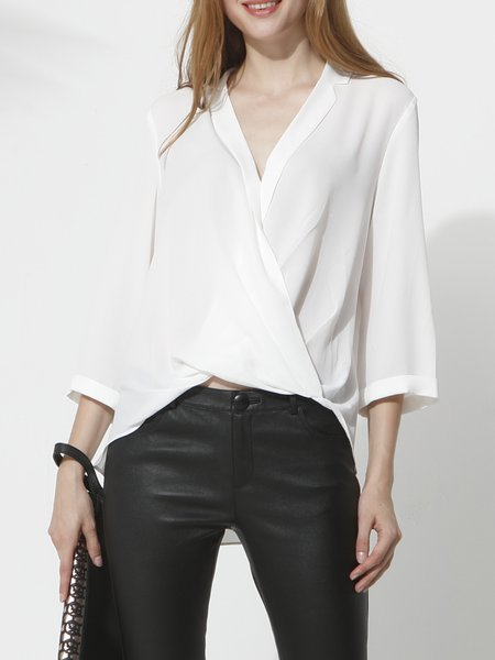White Casual Cutout Solid 3/4 sleeve V neck Asymmetrical Blouse